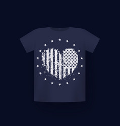heart with usa flag patriotic t-shirt print vector image
