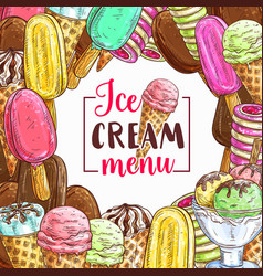 Ice cream sketch frame for cafe menu cover design vector