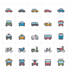 icon set vehicle and transport full color vector image