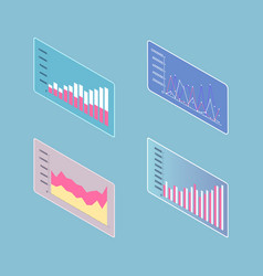 infographics and infocharts tables on screen 3d vector image