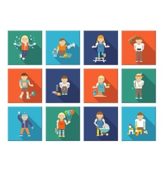 Kids Playing Icons vector image