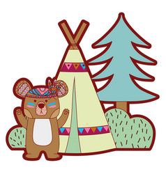 Line color bear animal with camp next to bush and vector