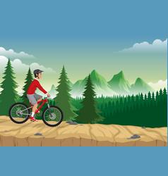 man riding mountain bike on mountain vector image