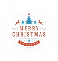 merry christmas greeting card typography vector image