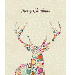 Merry Vintage christmas elements reindeer greeting vector