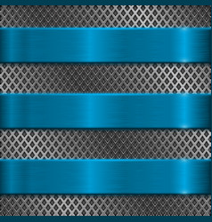Metal perforated background with blue stripes vector