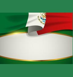 Mexico insignia with decorative golden frame vector