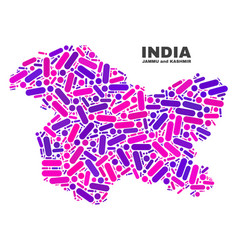 Mosaic jammu and kashmir state map of dots and vector