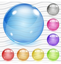 Multicolored transparent glass spheres vector image vector image