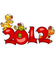 new year border dragon vector image