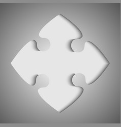 one grey piece flat puzzle jigsaw - vector image