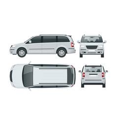 Passenger van or minivan car template on vector