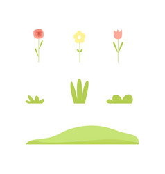 plants and flowers nature landscape constructor vector image