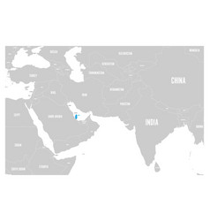 Qatar blue marked in political map of south asia vector