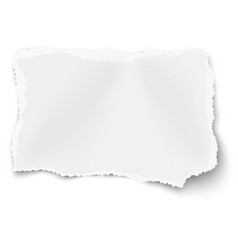 Rectangular ragged torned paper scrap vector