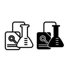 research line and glyph icon chemical flask and vector image