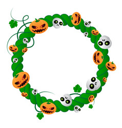 round frame for halloween holiday green plant vector image
