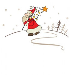 Santa with a Christmas tree vector image