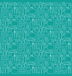 Seamless background pattern of cooking kitchen ute vector