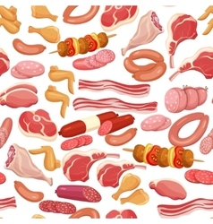 Seamless meat products vector image