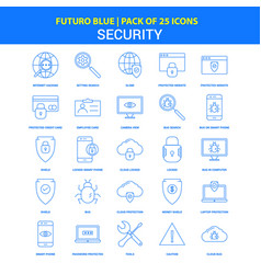 security icons - futuro blue 25 icon pack vector image