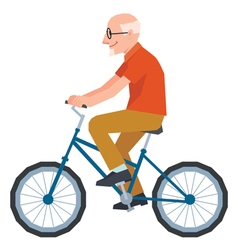 Senior man in style of low poly rides a bike vector image