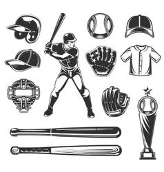 set baseball icons vector image