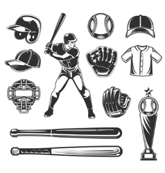 Set of baseball icons vector