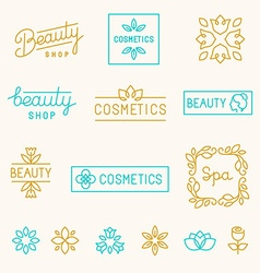 set of linear design elements and logos vector image