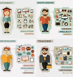 Set of professions Student graphic designer web vector image