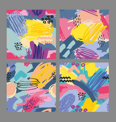 set of seamless patterns with brush strokes vector image