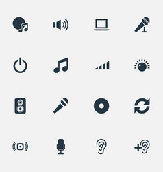 Set of simple dj icons vector