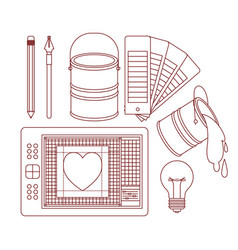 set work elements for graphic design in silhouette vector image