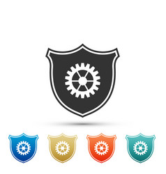 shield with gear icon isolated on white background vector image