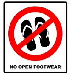 Sign no sandals No slipper red prohibition plane vector