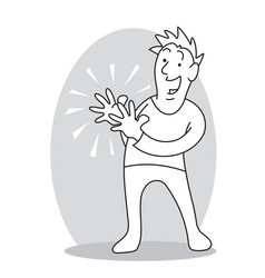 smiling man clapping hands vector image