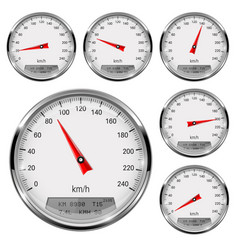 Speedometers round speed gage with metal frame vector