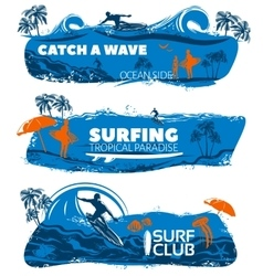 Surfing Banner Set vector