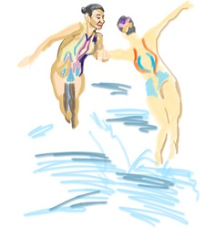 synchronized swimming vector image