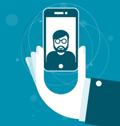 Taking a photo with smartphone - selfie vector
