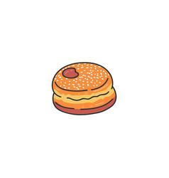 tasty donut sketch cartoon icon vector image