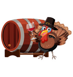 Thanksgiving turkey with wine glass vector