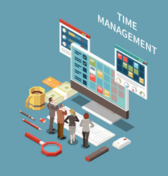 time management isometric concept vector image