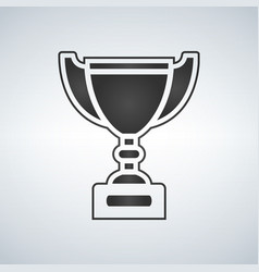 Trophy cup award icon in flat style vector