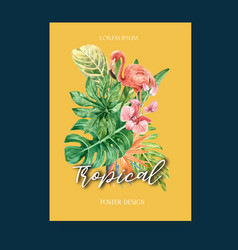 Tropical poster design summer with plants foliage vector