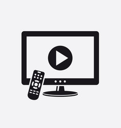 tv with video play button icon vector image
