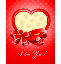valentine as heart with bow vector image vector image