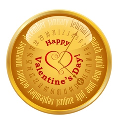 Valentines Day on calendar vector image