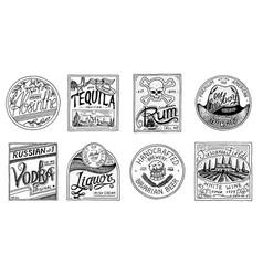 Vintage american badge absinthe tequila vodka vector