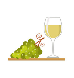 wine glass and grapes isolated on whitw vector image